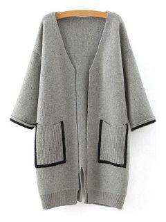 Back Slit Black Edge Pockets Loose Fitting Cardigan - Gray