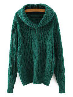 Solid Color Twist Braided Turtle Neck Sweater - Green