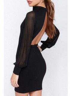 Stand Neck Backless Bodycon Dress - Black M
