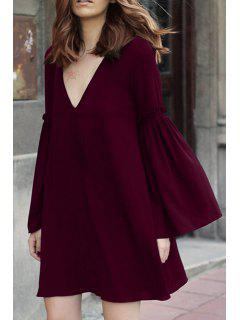 Bell Sleeve Solid Color Flare Dress - Wine Red M