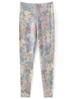 Printed Cashmere Thicken Leggings - Gray L