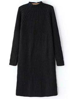 Pure Color Turtle Neck Long Sleeve Sweater Dress - Black