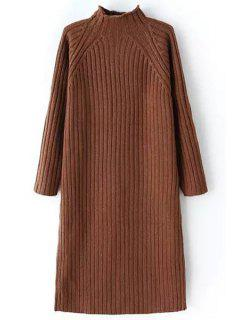 Pure Color Turtle Neck Long Sleeve Sweater Dress - Coffee