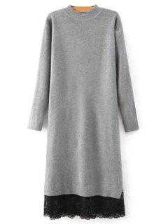 Lace Spliced Round Neck Long Sleeves Sweater Dress - Gray L
