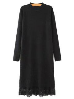 Lace Spliced Round Neck Long Sleeves Sweater Dress - Black L