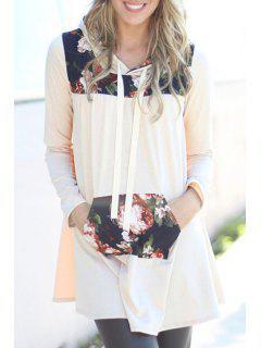 Long Sleeve Floral Print Hoodie Dress - Light Khaki L