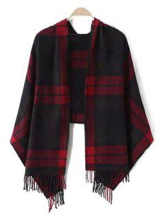 Dark Color Plaid Tassel Pashmina - Red With Balck