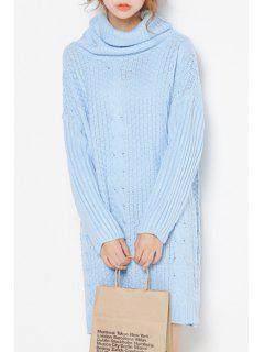 Turtleneck Cable Knit Long Sweater - Light Blue