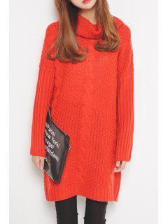 Turtleneck Cable Knit Long Sweater - Red