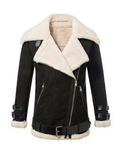 Lapel Neck Long Sleeve Fur Collar Coat - Black S