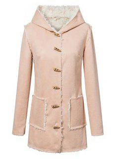 Faux Suede Hooded Long Sleeves Coat - Light Pink L