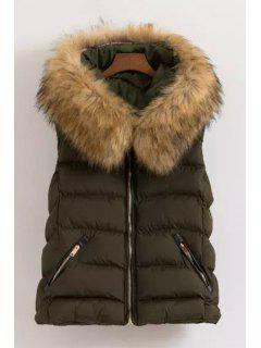 Fur Collar Hooded Waistcoat - Green 2xl