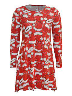 Santa's Missing Hat Print Long Sleeve Dress - Red L