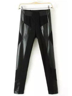 PU Leather Spliced High Waisted Leggings - Black L