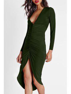 Solid Color Ruched Plunging Neck Long Sleeves Dress - Khaki 2xl