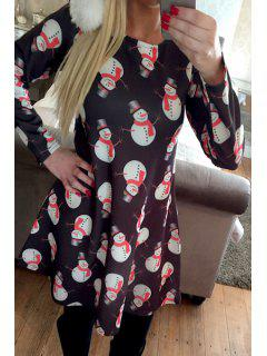 Snowman Print Round Neck Long Sleeves Dress - Black L