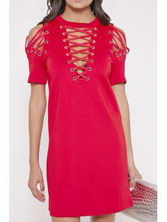 Hollow Out Round Neck Short Sleeves Dress - Red L