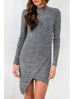 Gray Round Neck Long Sleeve Sweater Dress - Gray M