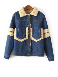 Faux Fur Spliced Denim Turn-Down Collar Thicken Coat - Blue Xl
