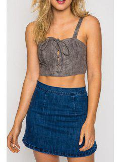 Faux Suede Cami Tank Top - Gray L