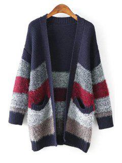 Color Block Pockets Stand Neck Long Sleeves Cardigan - Purplish Blue