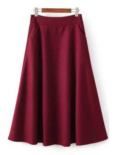Solid Color Woolen High Waisted A Line Skirt - Wine Red M