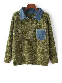 Loose Fitting Denim Spliced Flat Collar Sweater - Green