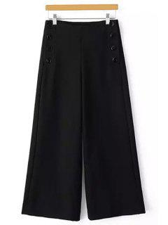 Solid Color Loose Fitting Palazzo Pants - Black M
