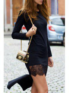 Black High Low Round Neck Long Sleeve Dress - Black Xl
