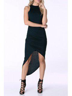 Solid Color Asymmetric Round Collar Sleeveless Dress - Black S