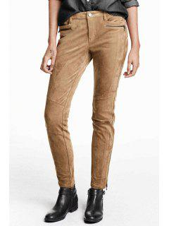 Solid Color Suede Narrow Feet Pants - Khaki 2xl
