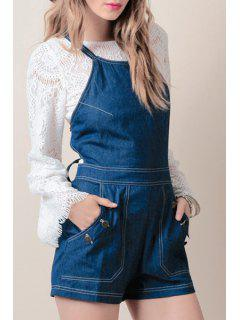 Crossed Lace Up Solid Color Denim Overalls - Blue 2xl