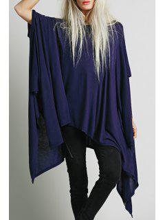 Solid Color Loose Fitting Sloping Neck T-Shirt - Purplish Blue Xl