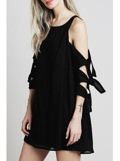 Cut Out Scoop Neck Solid Color Dress - Black