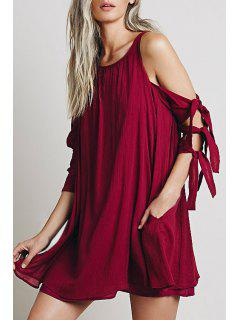 Cut Out Scoop Neck Solid Color Dress - Wine Red