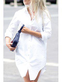Irregular Hem Flat Collar Solid Color Shirt Dress - White L