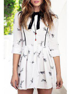 Printed Bowtie Flat Collar Long Sleeves Dress - White Xs