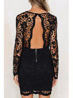 Solid Color Openwork Lace Hook Round Collar Dress - Black M