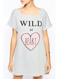 Heart Print Scoop Neck Short Sleeve Dress - Gray L