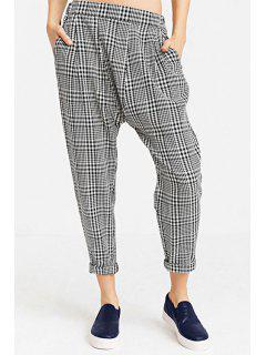 Plaid Pattern Harem Pants - White And Black Xs