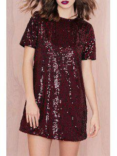 Short Sleeve Sequined Red Dress - Wine Red 2xl