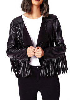 Solid Color PU Leather Tassels Long Sleeves Jacket - Black Xl