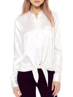 Long Sleeve Single-Breasted Tie Knot Shirt - White M