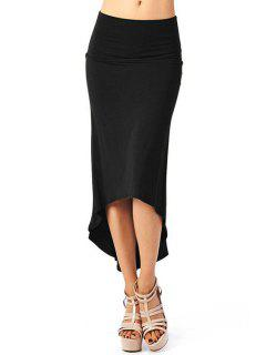 High-Waisted Solid Color Dovetail Skirt - Black S