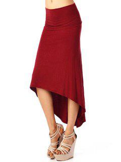 High-Waisted Solid Color Dovetail Skirt - Wine Red Xl