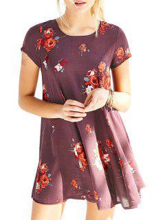 Flower Print Jewel Neck Short Sleeve Dress - Purplish Red 2xl