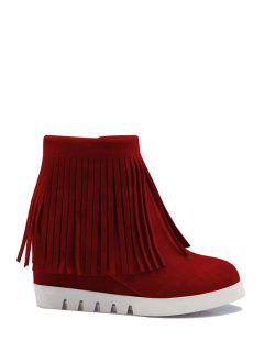 Solid Color Fringe Wedge Heel Short Boots - Red 38