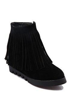 Solid Color Fringe Wedge Heel Short Boots - Black 37
