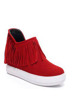 Suede Fringe Hidden Wedge Short Boots - Red 39