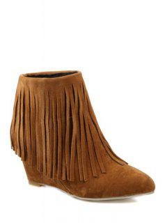 Pointed Toe Fringe Wedge Heel Short Boots - Brown 38